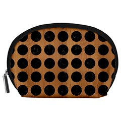 Circles1 Black Marble & Light Maple Wood (r) Accessory Pouches (large)