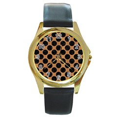 Circles2 Black Marble & Light Maple Wood (r) Round Gold Metal Watch by trendistuff