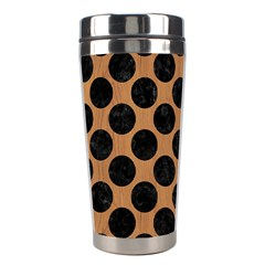 Circles2 Black Marble & Light Maple Wood (r) Stainless Steel Travel Tumblers by trendistuff