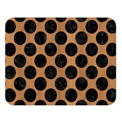 Circles2 Black Marble & Light Maple Wood (r) Double Sided Flano Blanket (large)  by trendistuff