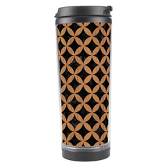 Circles3 Black Marble & Light Maple Wood Travel Tumbler by trendistuff