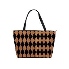 Diamond1 Black Marble & Light Maple Wood Shoulder Handbags