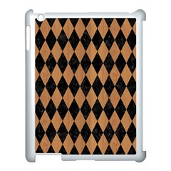 Diamond1 Black Marble & Light Maple Wood Apple Ipad 3/4 Case (white) by trendistuff