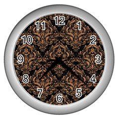 Damask1 Black Marble & Light Maple Wood Wall Clocks (silver)  by trendistuff