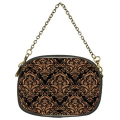 Damask1 Black Marble & Light Maple Wood Chain Purses (one Side)  by trendistuff