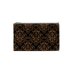 Damask1 Black Marble & Light Maple Wood Cosmetic Bag (small)  by trendistuff