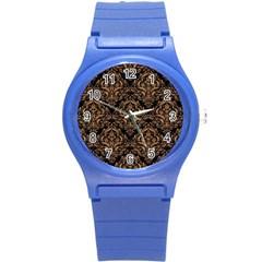 Damask1 Black Marble & Light Maple Wood Round Plastic Sport Watch (s) by trendistuff
