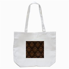 Damask1 Black Marble & Light Maple Wood Tote Bag (white) by trendistuff