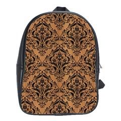 Damask1 Black Marble & Light Maple Wood (r) School Bag (large) by trendistuff