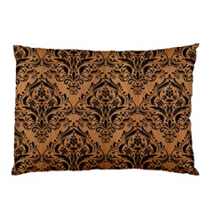 Damask1 Black Marble & Light Maple Wood (r) Pillow Case (two Sides) by trendistuff