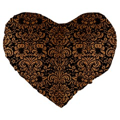 Damask2 Black Marble & Light Maple Wood Large 19  Premium Heart Shape Cushions by trendistuff
