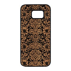 Damask2 Black Marble & Light Maple Wood Samsung Galaxy S7 Edge Black Seamless Case by trendistuff