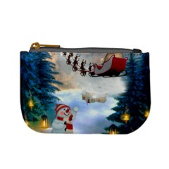 Christmas, Snowman With Santa Claus And Reindeer Mini Coin Purses by FantasyWorld7