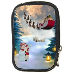 Christmas, Snowman With Santa Claus And Reindeer Compact Camera Cases by FantasyWorld7