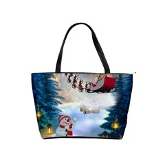 Christmas, Snowman With Santa Claus And Reindeer Shoulder Handbags