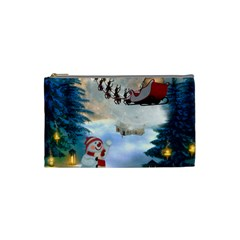 Christmas, Snowman With Santa Claus And Reindeer Cosmetic Bag (small)  by FantasyWorld7