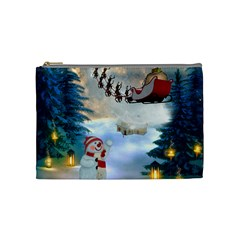 Christmas, Snowman With Santa Claus And Reindeer Cosmetic Bag (medium)  by FantasyWorld7