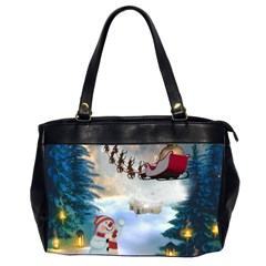 Christmas, Snowman With Santa Claus And Reindeer Office Handbags (2 Sides)  by FantasyWorld7