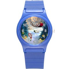 Christmas, Snowman With Santa Claus And Reindeer Round Plastic Sport Watch (s)