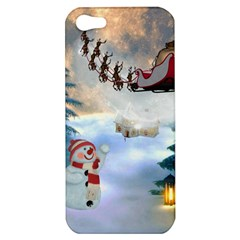Christmas, Snowman With Santa Claus And Reindeer Apple Iphone 5 Hardshell Case by FantasyWorld7