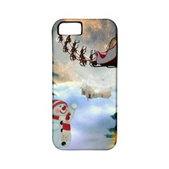 Christmas, Snowman With Santa Claus And Reindeer Apple Iphone 5 Classic Hardshell Case (pc+silicone) by FantasyWorld7