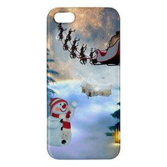 Christmas, Snowman With Santa Claus And Reindeer Apple Iphone 5 Premium Hardshell Case by FantasyWorld7