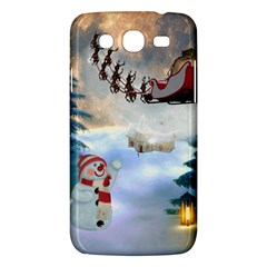 Christmas, Snowman With Santa Claus And Reindeer Samsung Galaxy Mega 5 8 I9152 Hardshell Case  by FantasyWorld7