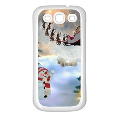 Christmas, Snowman With Santa Claus And Reindeer Samsung Galaxy S3 Back Case (white) by FantasyWorld7