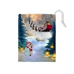 Christmas, Snowman With Santa Claus And Reindeer Drawstring Pouches (medium)  by FantasyWorld7