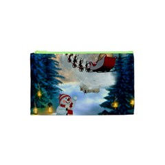 Christmas, Snowman With Santa Claus And Reindeer Cosmetic Bag (xs) by FantasyWorld7