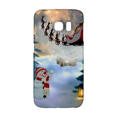 Christmas, Snowman With Santa Claus And Reindeer Galaxy S6 Edge by FantasyWorld7