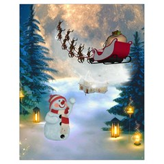Christmas, Snowman With Santa Claus And Reindeer Drawstring Bag (small) by FantasyWorld7