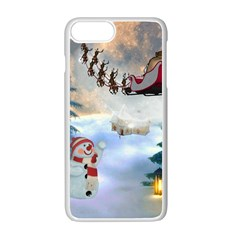 Christmas, Snowman With Santa Claus And Reindeer Apple Iphone 7 Plus White Seamless Case by FantasyWorld7