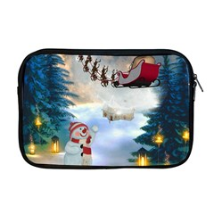 Christmas, Snowman With Santa Claus And Reindeer Apple Macbook Pro 17  Zipper Case by FantasyWorld7
