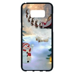 Christmas, Snowman With Santa Claus And Reindeer Samsung Galaxy S8 Plus Black Seamless Case by FantasyWorld7