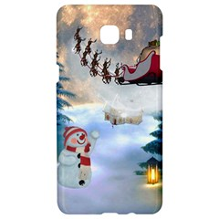 Christmas, Snowman With Santa Claus And Reindeer Samsung C9 Pro Hardshell Case  by FantasyWorld7