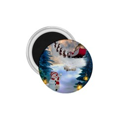 Christmas, Snowman With Santa Claus And Reindeer 1 75  Magnets by FantasyWorld7