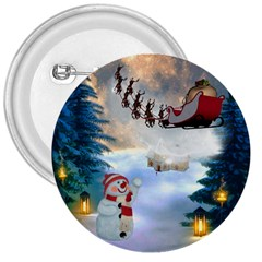 Christmas, Snowman With Santa Claus And Reindeer 3  Buttons by FantasyWorld7