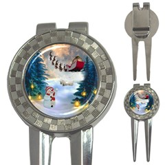 Christmas, Snowman With Santa Claus And Reindeer 3 In 1 Golf Divots by FantasyWorld7