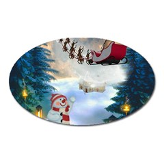 Christmas, Snowman With Santa Claus And Reindeer Oval Magnet by FantasyWorld7