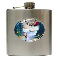 Christmas, Snowman With Santa Claus And Reindeer Hip Flask (6 Oz) by FantasyWorld7