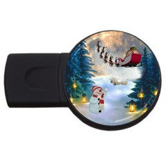 Christmas, Snowman With Santa Claus And Reindeer Usb Flash Drive Round (2 Gb) by FantasyWorld7