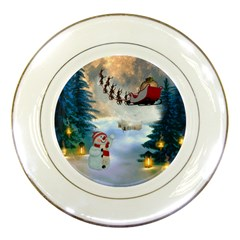 Christmas, Snowman With Santa Claus And Reindeer Porcelain Plates by FantasyWorld7