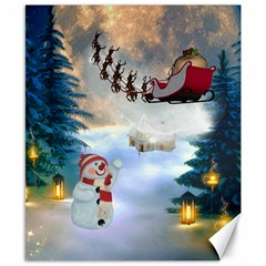 Christmas, Snowman With Santa Claus And Reindeer Canvas 8  X 10  by FantasyWorld7