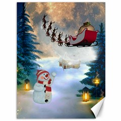 Christmas, Snowman With Santa Claus And Reindeer Canvas 36  X 48   by FantasyWorld7