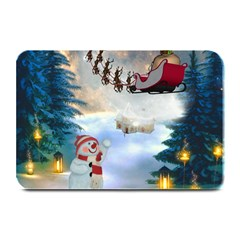 Christmas, Snowman With Santa Claus And Reindeer Plate Mats by FantasyWorld7