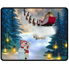 Christmas, Snowman With Santa Claus And Reindeer Fleece Blanket (medium)  by FantasyWorld7