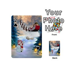 Christmas, Snowman With Santa Claus And Reindeer Playing Cards 54 (mini)  by FantasyWorld7
