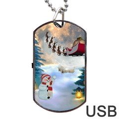 Christmas, Snowman With Santa Claus And Reindeer Dog Tag Usb Flash (one Side) by FantasyWorld7