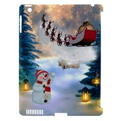 Christmas, Snowman With Santa Claus And Reindeer Apple Ipad 3/4 Hardshell Case (compatible With Smart Cover) by FantasyWorld7